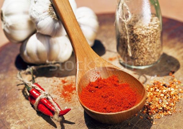 close up picture of a lot of red hot chilli peppers and spicy, g Stock photo © iordani