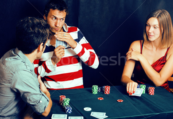 young people playing poker off-line tournament, friends party co Stock photo © iordani