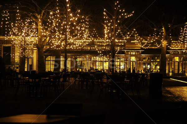 empty night restaurant, lot of tables and chairs with noone, magic fairy lights on trees like christ Stock photo © iordani