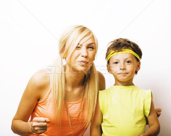 Komik anne oğul kabarcık sakız Stok fotoğraf © iordani