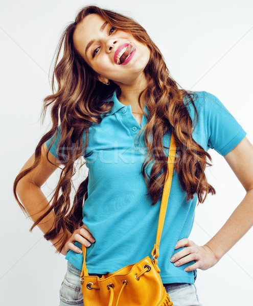 young pretty long hair woman happy smiling isolated on white background, wearing cute tiny fashion h Stock photo © iordani