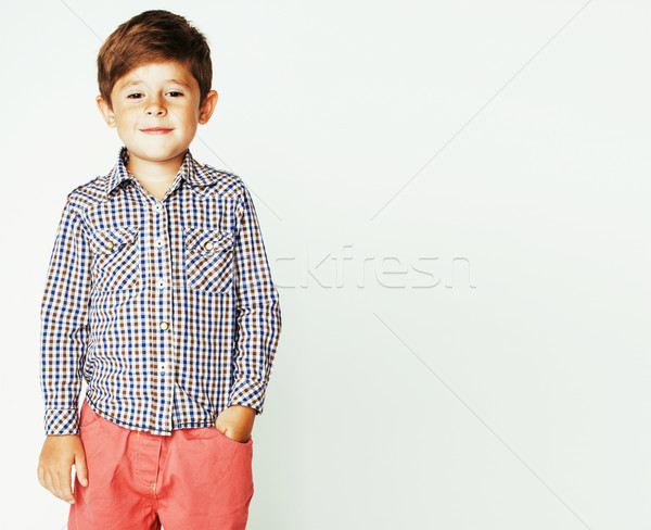 Stock photo: little cute adorable boy posing gesturing cheerful on white back