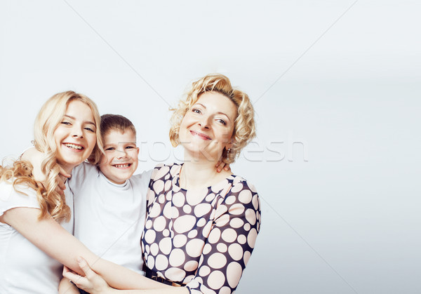 Stock photo: happy smiling family together posing cheerful on white background, lifestyle people concept, mother