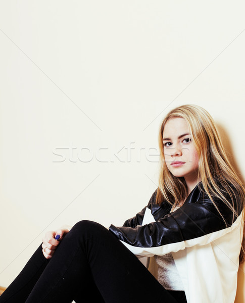 Jovem bastante adolescente loiro menina sessão Foto stock © iordani