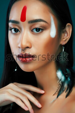 Stock photo: beauty bright african woman with creative make up, shawl on head