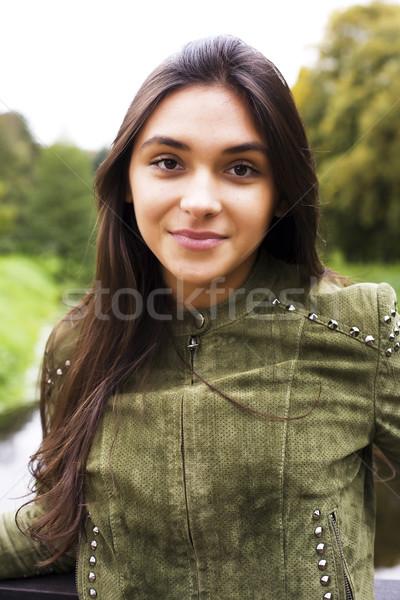 Natureza mulher jovem ar fresco verde floresta Foto stock © iordani