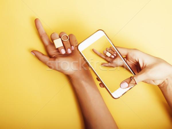 Kéz elvesz kép új manikűr divat Stock fotó © iordani