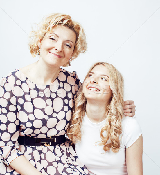 mother with daughter together posing happy smiling isolated on white background with copyspace, life Stock photo © iordani