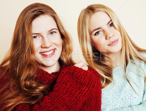 best friends teenage girls together having fun, posing emotional Stock photo © iordani