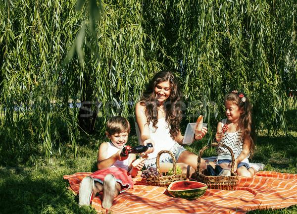 Cute счастливая семья пикника зеленая трава матери Сток-фото © iordani