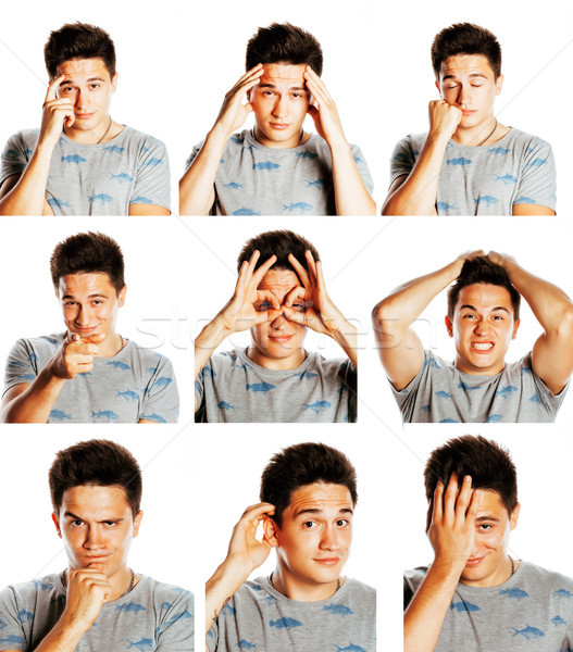 collage of different mens emotions, young guy posing emotional,  Stock photo © iordani