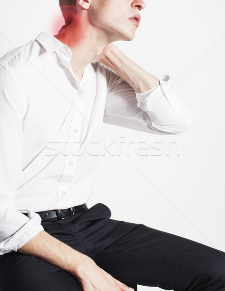 portrait of body part businessman isolated on white background pain killers holding neck hurts, mode Stock photo © iordani