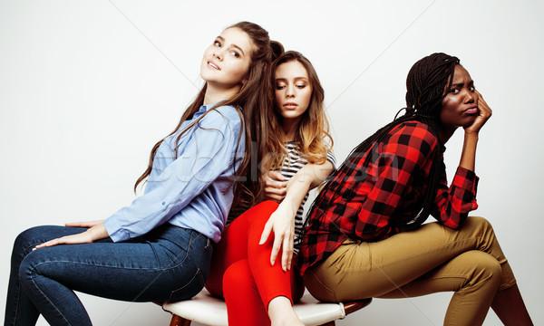 国家 女の子 グループ 十代の 友達 ストックフォト © iordani