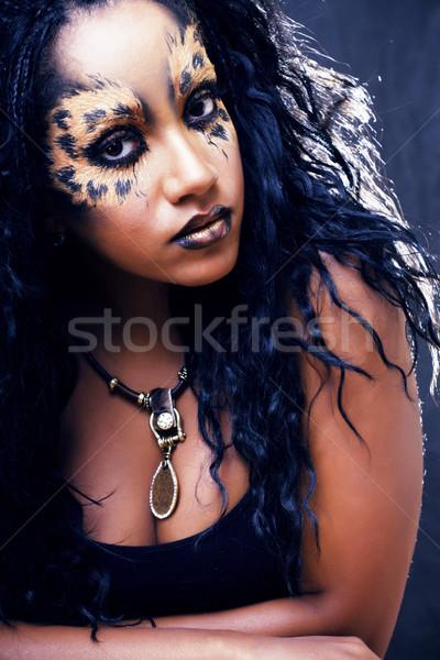 Szépség afro lány macska smink kreatív Stock fotó © iordani