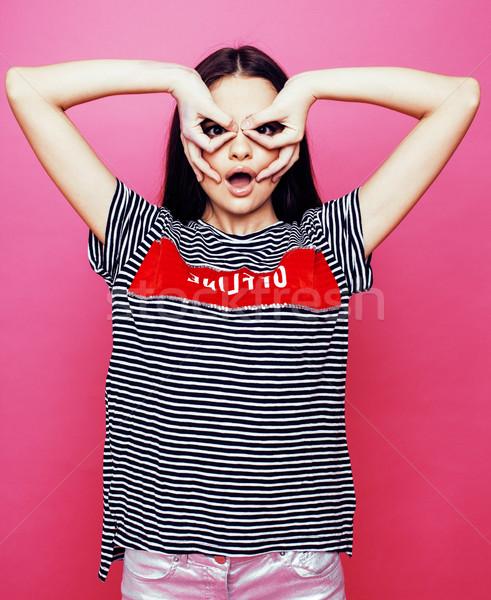 Młodych dość kobieta emocjonalny stwarzające Zdjęcia stock © iordani