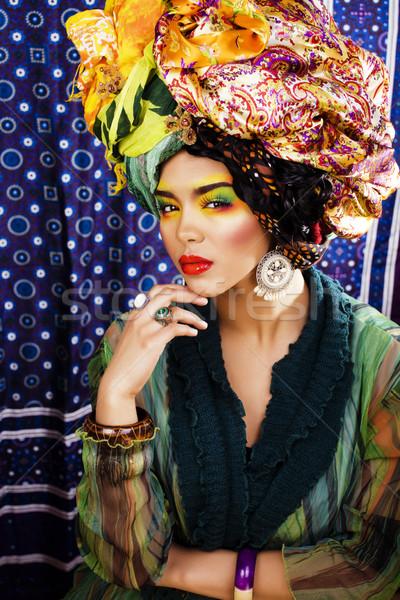 Stockfoto: Schoonheid · heldere · vrouw · creatieve · make-up · veel