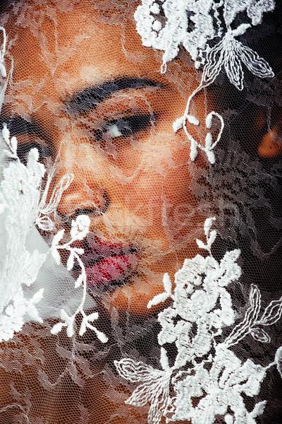 Portrait beauté jeunes afro femme blanche Photo stock © iordani