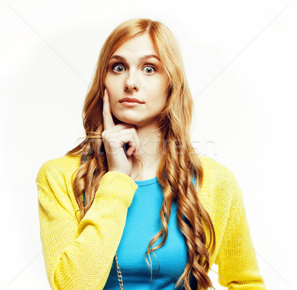 young pretty red hair woman happy smiling isolated on white background, lifestyle people concept clo Stock photo © iordani