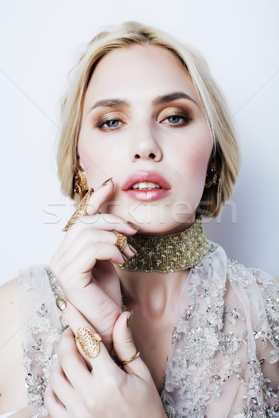 young pretty blond woman in luxury jewelry, lifestyle rich people concept  Stock photo © iordani