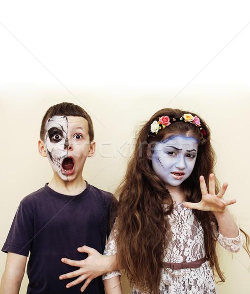 Zombi apokalipszis gyerekek születésnapi buli ünneplés gyerekek Stock fotó © iordani