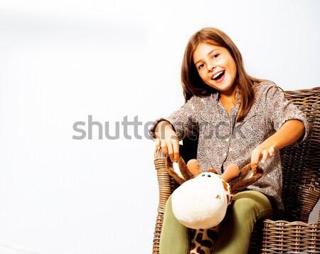 Genç sevimli disko kız pembe disko topu Stok fotoğraf © iordani
