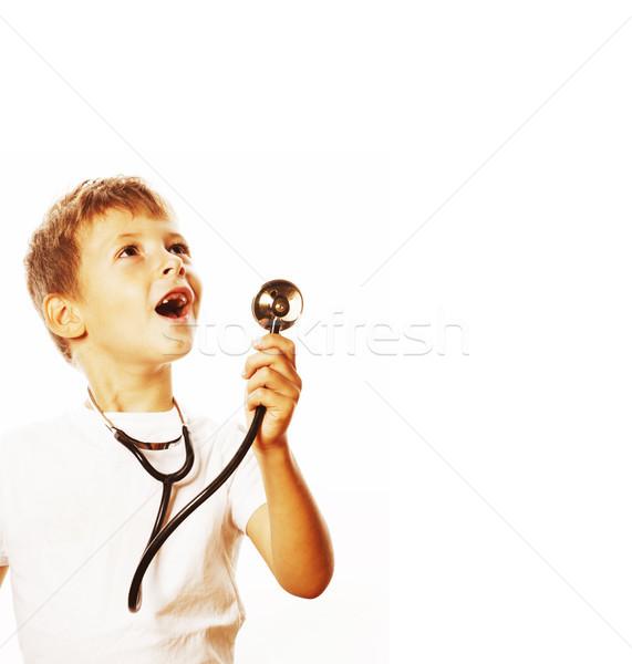 Mały cute chłopca stetoskop gry jak Zdjęcia stock © iordani