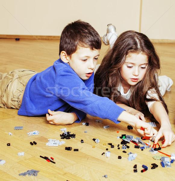 Drôle cute enfants jouer jouets maison Photo stock © iordani