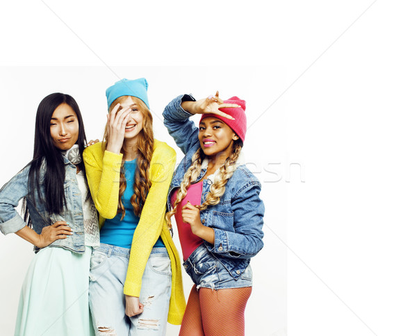 close up happy smiling diverse nation girls group, teenage frien Stock photo © iordani