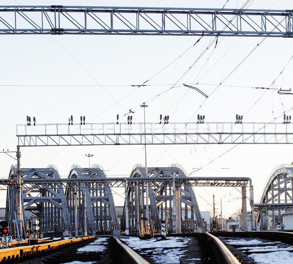 Manzara demiryolu trenler çelik gün batımı Stok fotoğraf © iordani