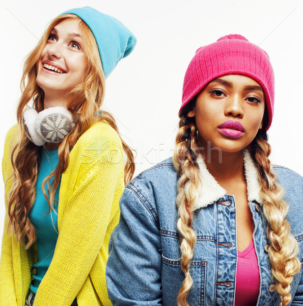 diverse nation girls group, two diverse rase teenage friends company cheerful having fun, happy smil Stock photo © iordani