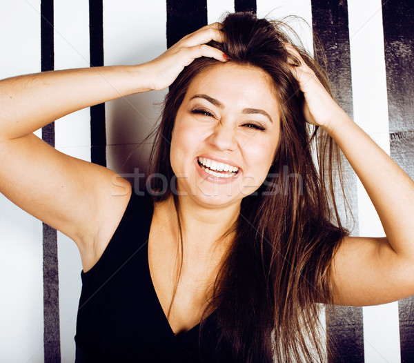 cute happy young indian real woman in studio close up smiling, fashion mulatto, lifestyle people con Stock photo © iordani