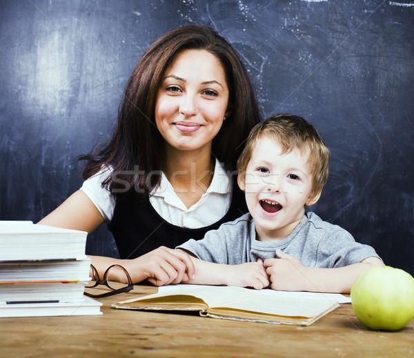 Stock foto: Wenig · cute · Junge · Lehrer · Klassenzimmer · lächelnd