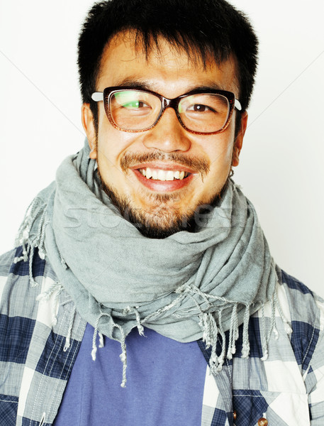 young handsome asian man hipster in glasses on white background, Stock photo © iordani