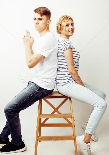 Jeunes joli adolescent couple Guy Photo stock © iordani