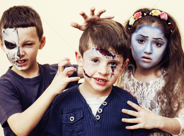 zombie apocalypse kids concept. Birthday party celebration facep Stock photo © iordani