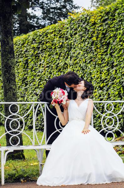 Belle mariée marié danse vert Photo stock © iordani