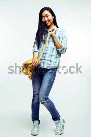 young pretty asian woman posing cheerful emotional isolated on white background, lifestyle people co Stock photo © iordani