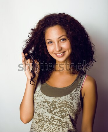 Stock photo: young pretty taned girl close up portrait smiling confident brunette warm, lifestyle people concept