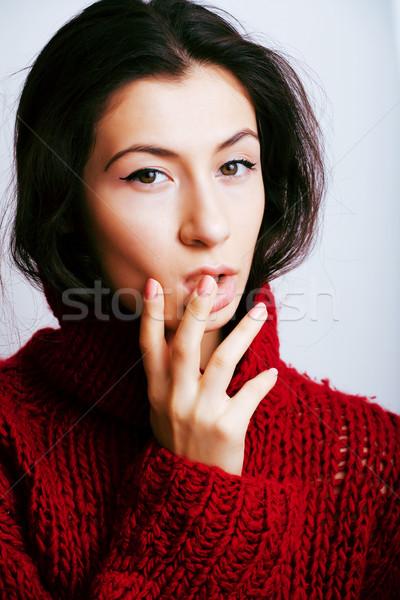 Jeunes jolie femme chandail écharpe tous visage Photo stock © iordani