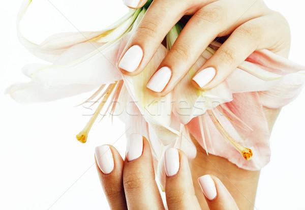Belleza manos manicura flor Lily Foto stock © iordani