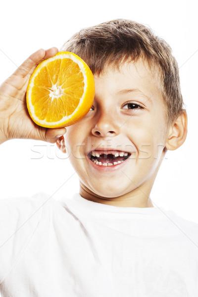 Wenig cute Junge orange Früchte Double isoliert Stock foto © iordani