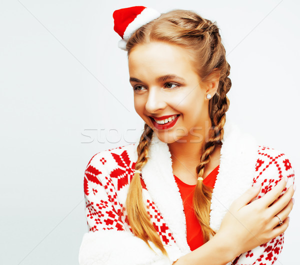 young pretty happy smiling blond woman on christmas in santas re Stock photo © iordani