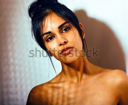 young beauty african american woman with fashion make up, emothi Stock photo © iordani