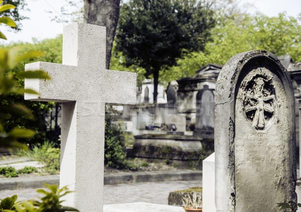 кладбище сумерки Готский стиль крестов Сток-фото © iordani