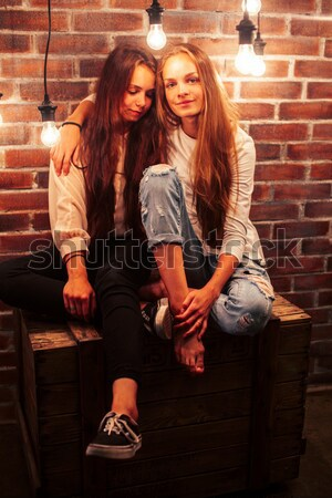 pretty teenage girl having fun in stylish modern loft studio, lifestyle people concept Stock photo © iordani