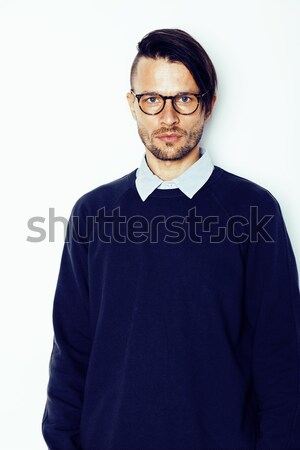handsome middle age hipster man with modern hairstyle and tattoo, beard, close up on white backgroun Stock photo © iordani
