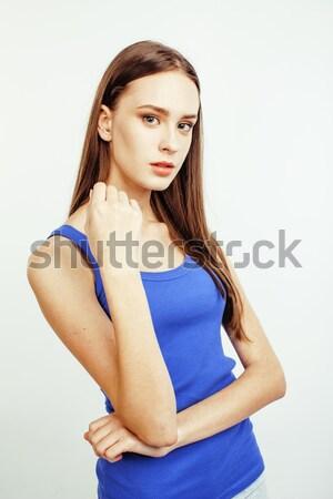 Jungen ziemlich Brünette Frau posiert gefühlvoll Stock foto © iordani
