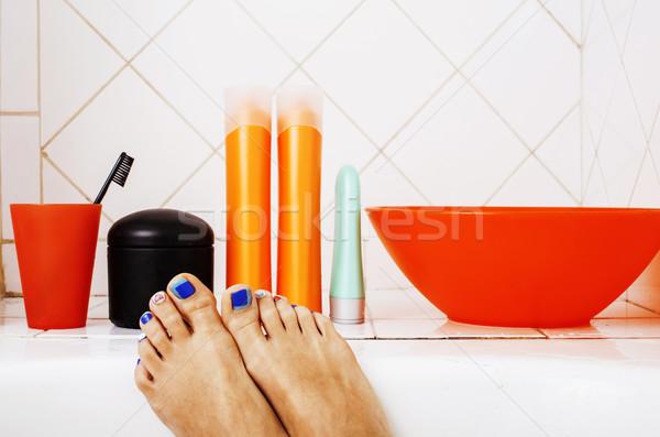 Mulher pernas banheiro elegante cuidar pedicure Foto stock © iordani