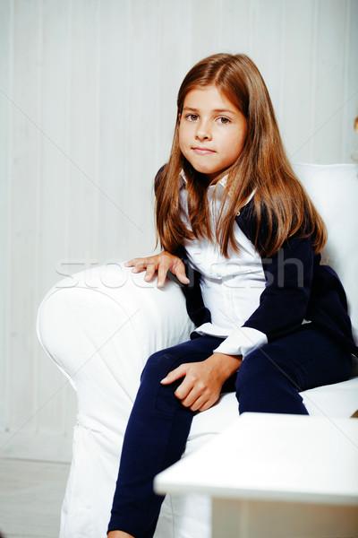 мало Cute брюнетка девушки домой интерьер Сток-фото © iordani