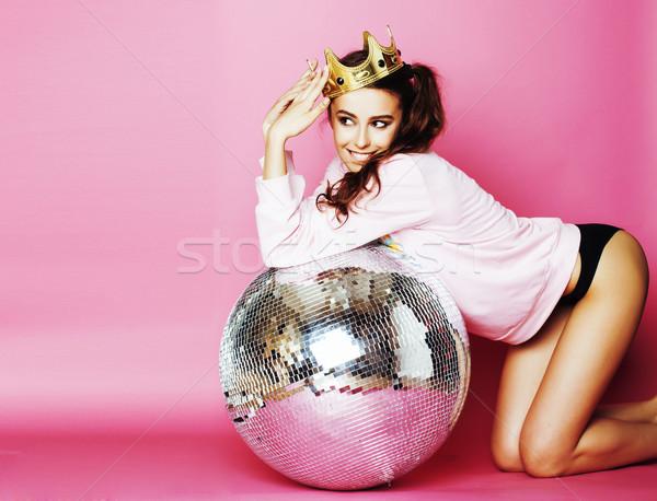 小さな かわいい ディスコ 少女 ピンク ディスコボール ストックフォト © iordani